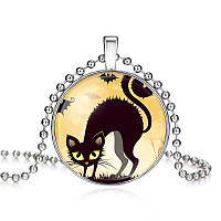 Подвес кабошон-черный кот на Хэллоуин, фото 1
