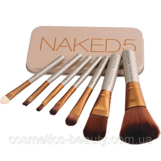 Набор кистей для макияжа в металлическом футляре Naked 5 (реплика).
