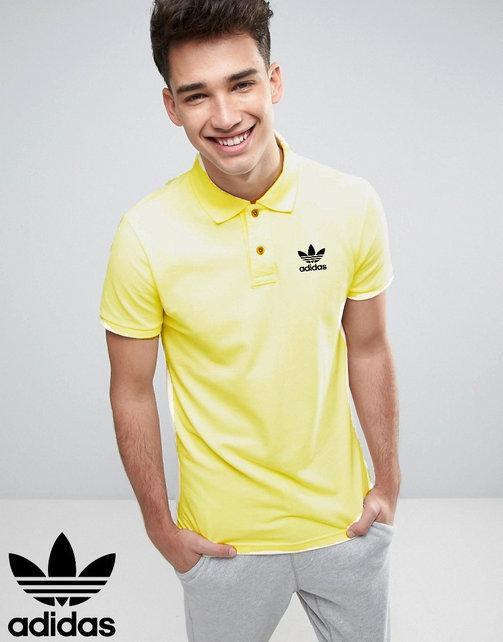 Футболка, поло, тенниска Adidas Адидас желтая Качественная реплика