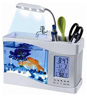 Настольный аквариум USB –аквариум с термометром и часами для радости и здоровья