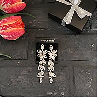 Свадебные серьги-капельки Mecresh с кристалами и камнями