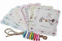 Набор декоративных рамок для фото, с прищепками, 12.8х18см, картон, джутовый канат, дерево, Фоторамка, Рамка для фото