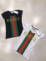 """Женская футболка """"Gucci"""" со вставками"""