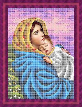Схема для вишивки бісером картини Мадонна з немовлям (ЛБп4-044)