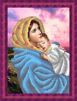 Схема для вишивки бісером картини Мадонна з немовлям (ЛБч4-045)