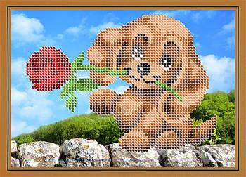 Схема для вышивки бисером картины Собачка с розой (ДБч5-139)