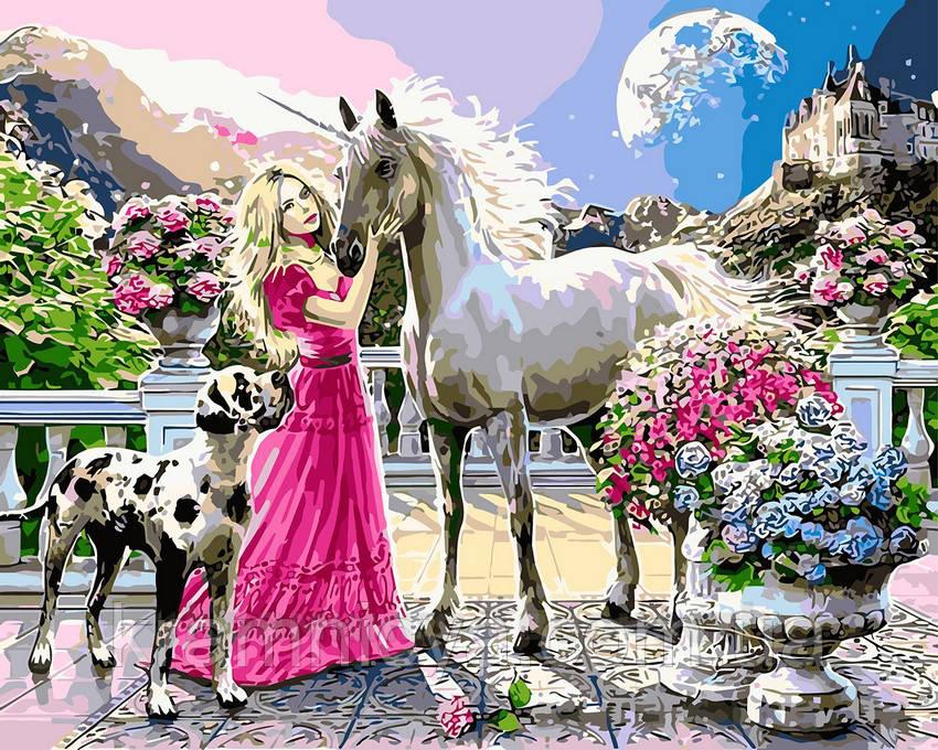Картина по номерам 40х50 Принцесса и единорог (GX8360)