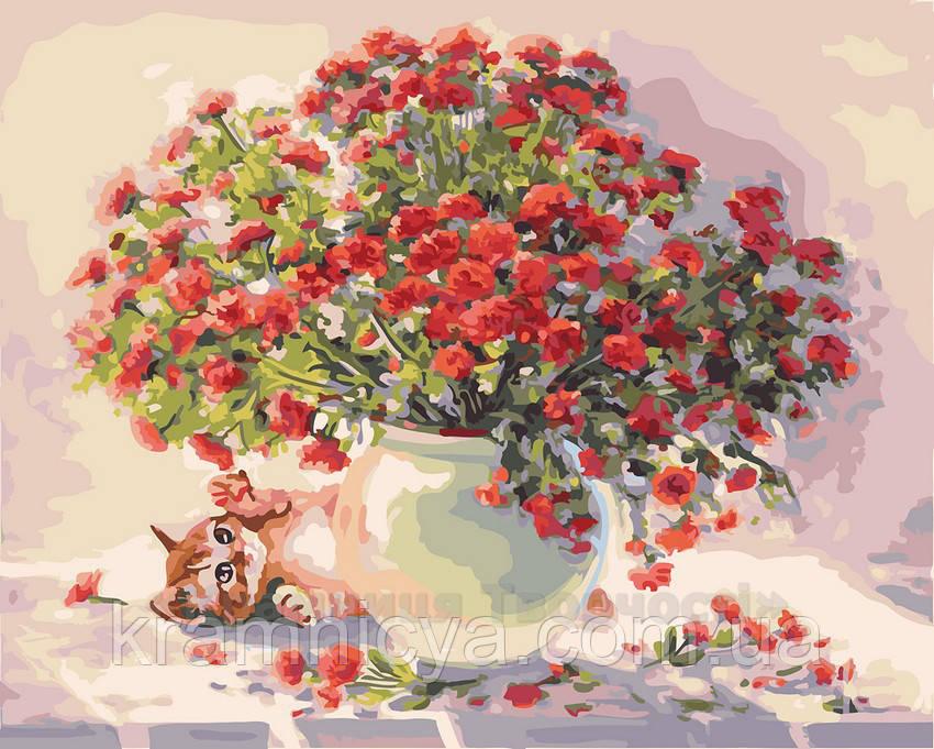 Картина по номерам 40х50 Алый букет (GX23483)