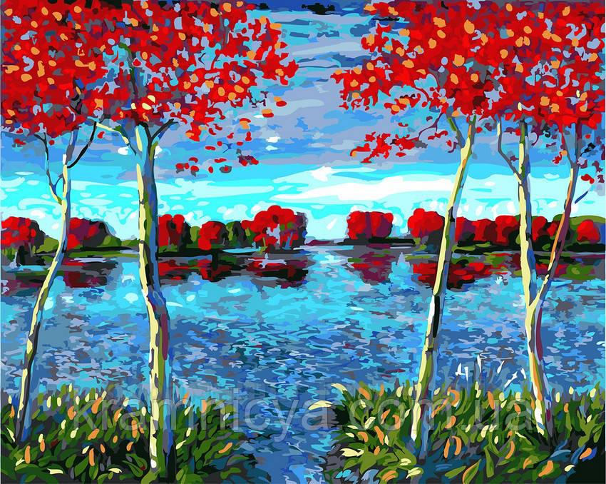 Картина по номерам 40х50 Деревья на пруду (GX23765)