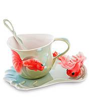 """Чашка с блюдцем """"Золотые рыбки"""" 150 мл., 2 пр., фарфор Pavone, Италия"""