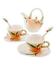 Фарфоровый чайный набор ''Пташка на падубе'' на 2 персоны (Pavone) FM-40/3