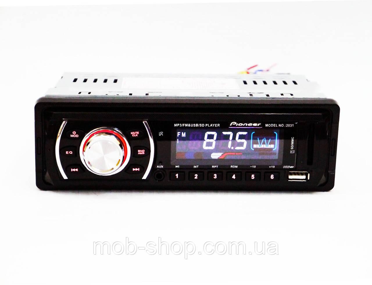 Автомагнитола пионер Pioneer 2031 MP3+Usb+Sd+Fm+Aux+пульт (4x50W)