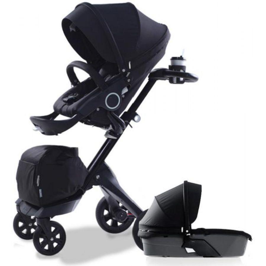 Детская коляска 2 в 1 DSLAND XPLORY V6 Black (Черная) Аналог Stokke Прогулочный блок + люлька