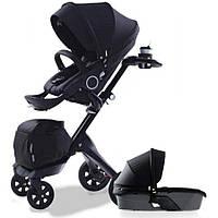 Детская коляска 2 в 1 DSLAND XPLORY V6 Black (Черная) Аналог Stokke Прогулочный блок + люлька, фото 1