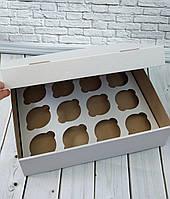 Коробка для 12 кексів, мафінів, капкейків 330*255*80 біла