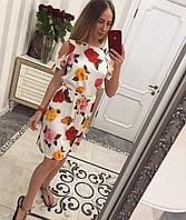 Женское лёгкое платье с цветами и поясом ,в расцветках, фото 1