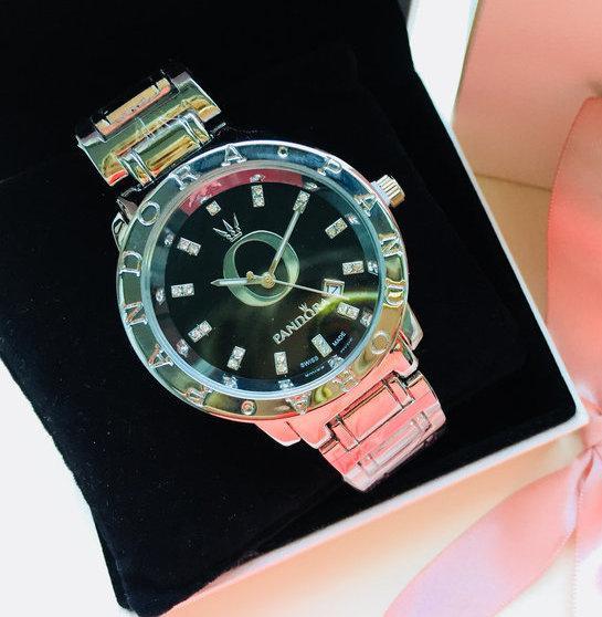 Женские наручные часы Pandora (Пандора), серебристый корпус с черным циферблатом ( код: IBW123SB )