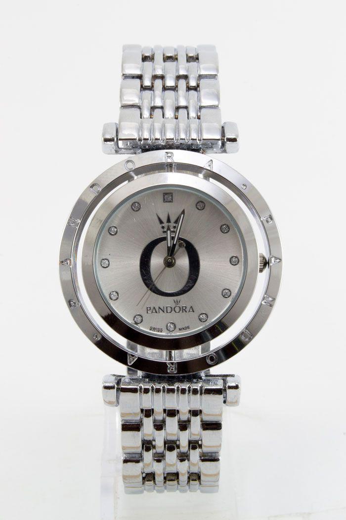 Женские наручные часы Pandora (Пандора), цвет корпуса серебристый (хром) с белым циферблатом ( код: IBW122SO )