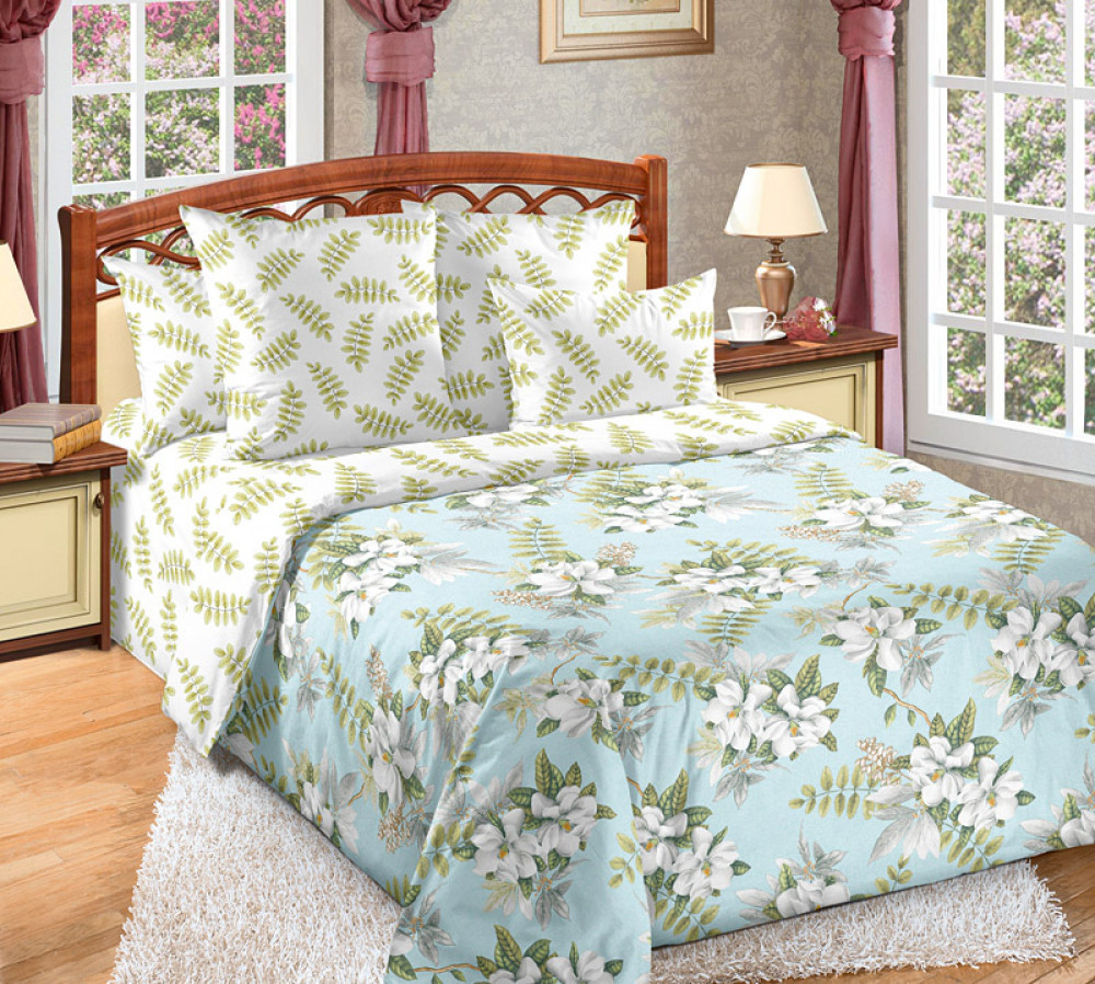 Постельное бельё  Тропики, перкаль Двуспальный на резинке,Комплект постельного белья