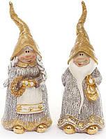 """Набор 2 декоративных фигурки """"Гномы в золотом"""" 18см"""