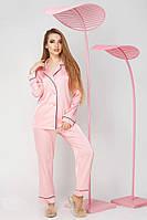 Женская шелковая пижама рубашка и брюки с кантом