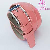 Ремень женский узкий на шпеньке (розовый)  лак 20 мм-купить оптом в Одессе