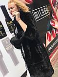 Женская норковая шуба с воротником стойка размеры норма, фото 2