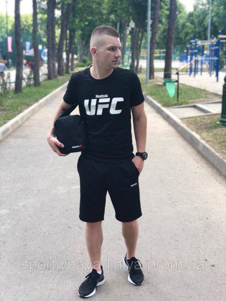Мужской летний костюм с шортами  Reebok UFC черный + барсетка в подарок Реплика