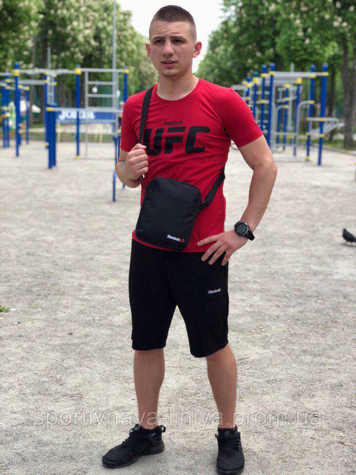 Мужской летний костюм с шортами  Reebok UFC красно-черный + барсетка в подарок Реплика