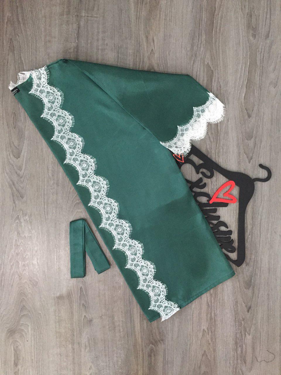 Атласный халат с белым широким кружевом под пояс,  одежда для дома