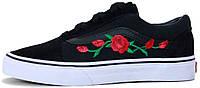 Мужские кеды Vans Old Skool Roses Black Ванс Олд Скул черные с розами