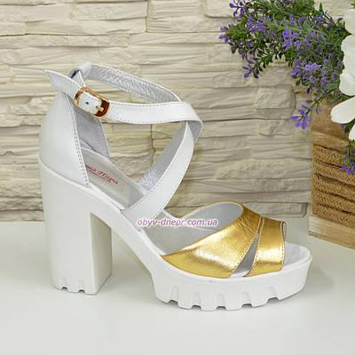 c64be84e8a5e Босоножки женские на высоком каблуке, из натуральной кожи белого и золотого  цвета. 36 размер
