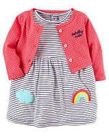 Платтье с кардиганом 2-Piece Bodysuit Dress & Cardigan Set Carter's Розовый