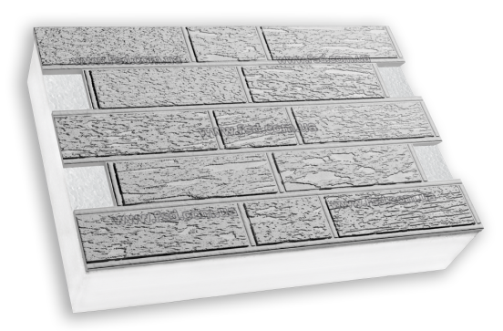 Фасадные термопанели на пенополистироле белые Кирпич короед 600*400 50мм (35кг/м2)
