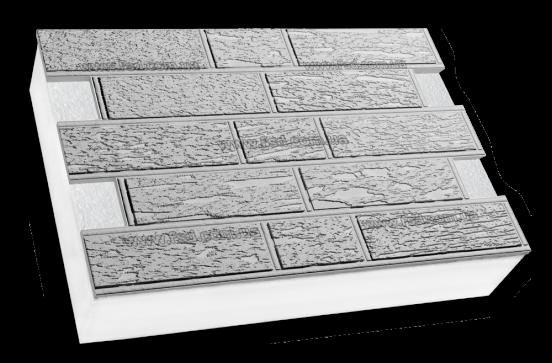 Фасадные термопанели на пенополистироле белые Кирпич короед 600*400 50мм (35кг/м2), фото 2