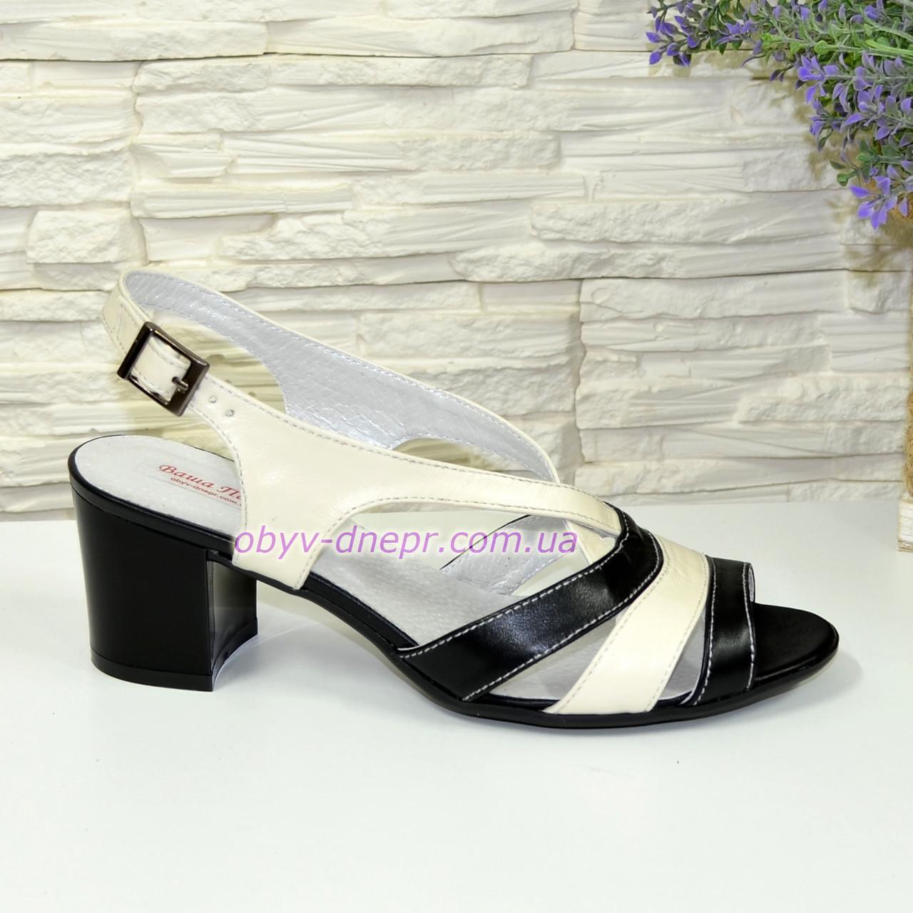 Женские кожаные босоножки на устойчивом каблуке. Цвет черный и бежевый. 37  размер 2bb6d5ed00bff