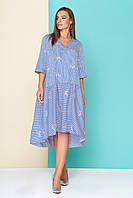 Хлопковое женское платье-рубашка в тонкую синюю полоску с цветочной вышивкой, размеры от 44 до 54
