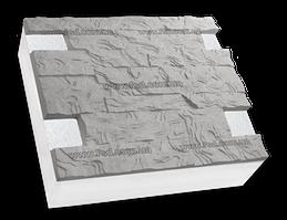 Фасадные термопанели на пенополистироле серый Волна 500*500 50мм (35кг/м2)