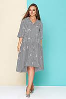 Хлопковое женское платье-рубашка в тонкую чёрную полоску с цветочной вышивкой, размеры от 44 до 54