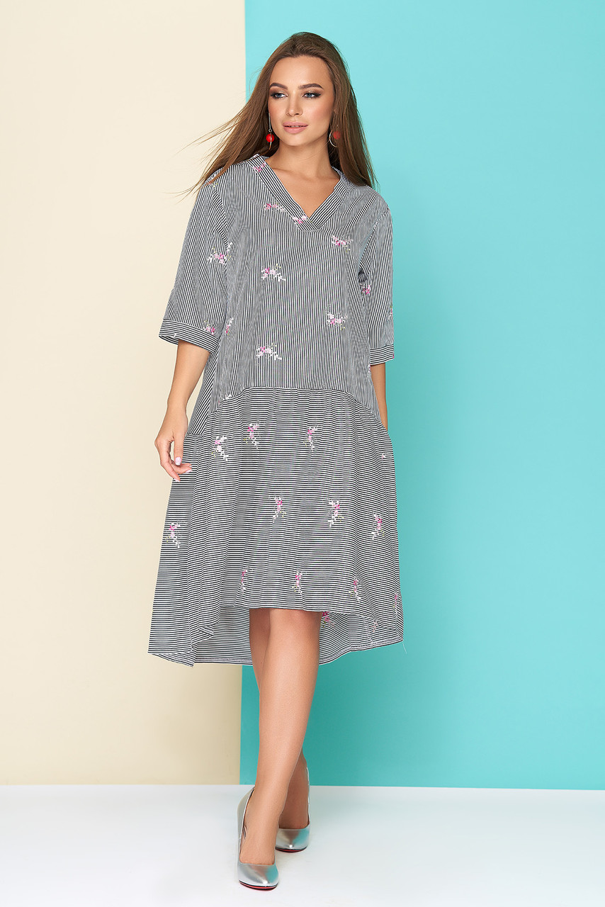 Хлопковое женское платье-рубашка в тонкую чёрную полоску с цветочной  вышивкой, размеры от 44 9e0e81642e0