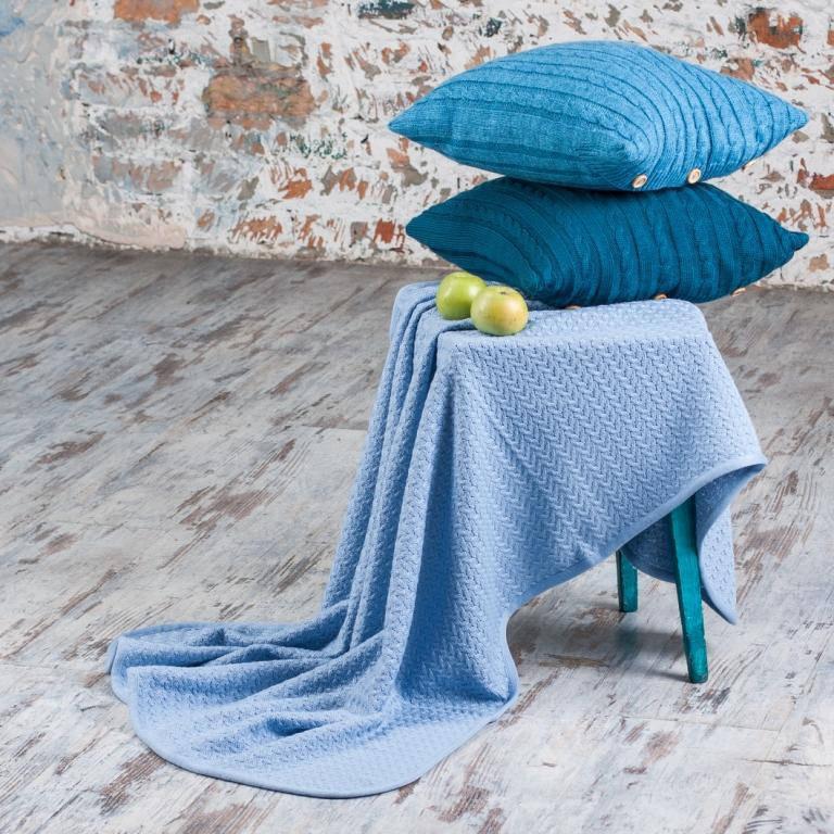 Плед детский вязаный Vividzone КОЛОСОК 110х120 голубой