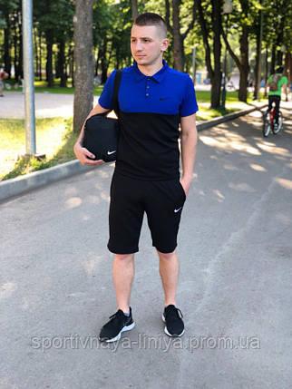 04be6515 Мужской костюм футболка и шорты (поло) Nike сине-черный + подарок Реплика