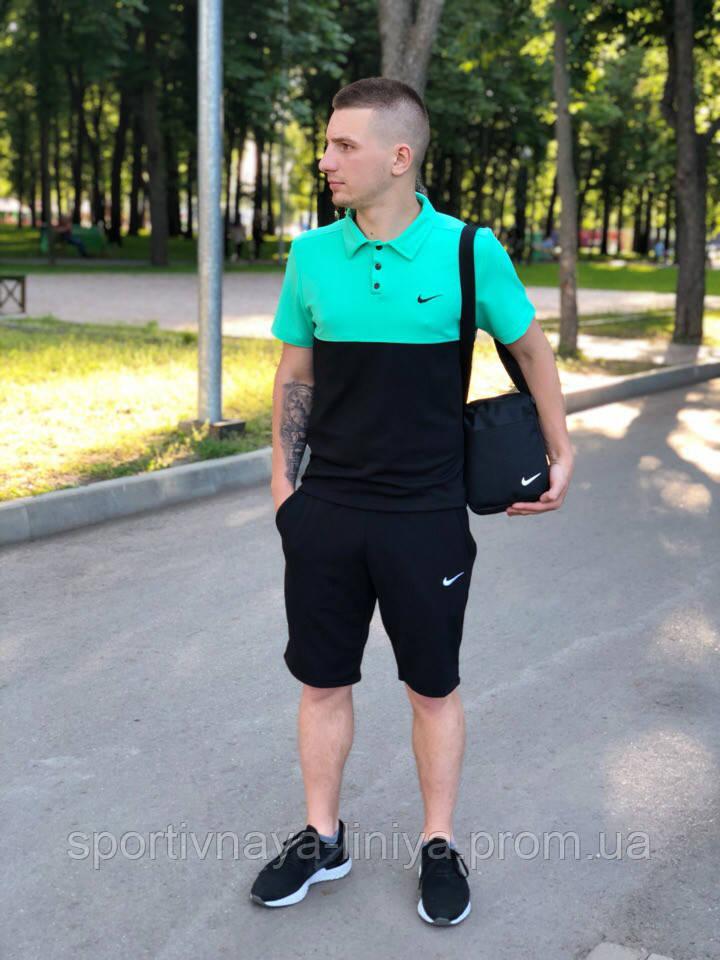 Мужской костюм футболка и шорты (поло) Nike бирюзово-черный + подарок Реплика