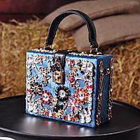 Бархатная сумка декорированная камнями Dolce Gabbana бирюза