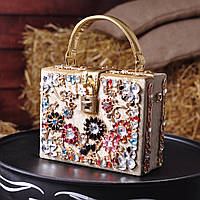 Бархатная сумка декорированная камнями Dolce Gabbana золотая