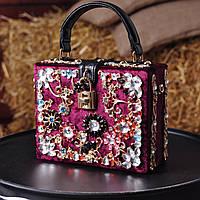 Бархатная сумка декорированная камнями Dolce Gabbana марсала 34326e3b47d