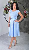 Светло синее летнее платье из льна (Размеры:44,52)