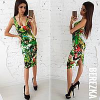 Платье-майка миди с растительным принтом 66031616