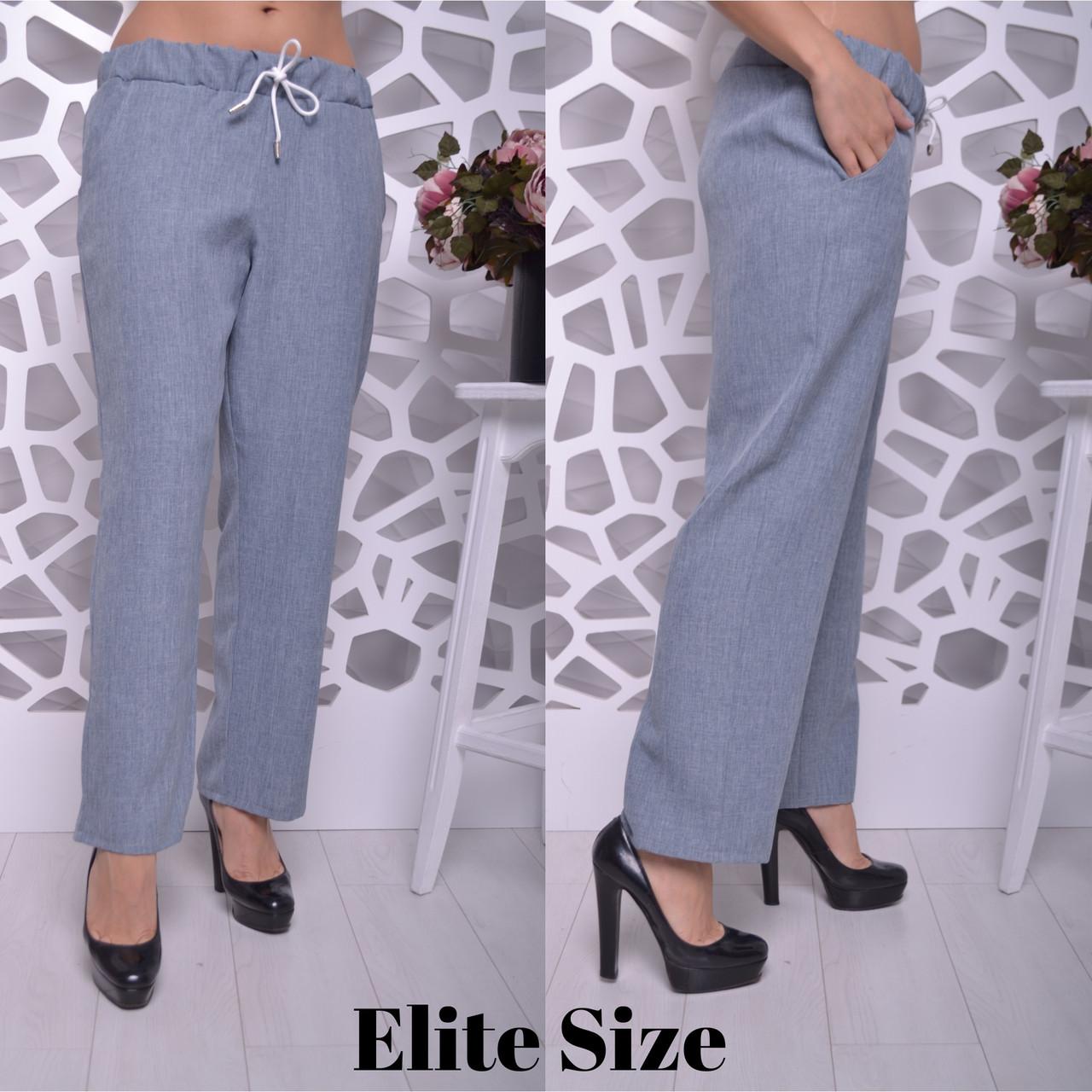 42c82f6a5f2d Купить Легкие женские штаны батала прямого кроя на лето 615854 ...