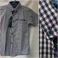 b40e72a73d9 Красивая рубашка в школу для мальчика с коротким рукавом в крупную полоску  на 12-16